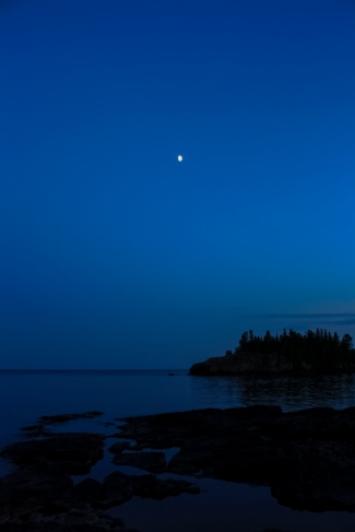 Moon over Superior - Lake Superior near Split Rock Lighthouse, Minnesota