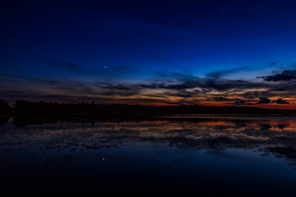 Sun sets, planets rise - Dora Lake, Chippewa National Forest, Minnesota