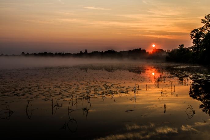 Sunrise on a misty lake - Dora Lake, Chippewa National Forest, Minnesota