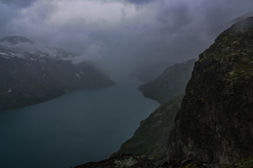 Mist over a glacial lake - Besseggen, Jotuneheimen Mountains, Norway