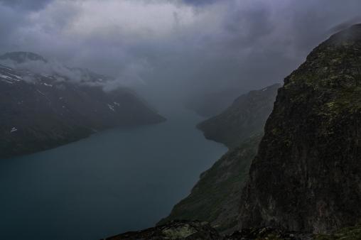 Mist over a glacial lake - Besseggen, Jotuneheimen Mountains, Norway