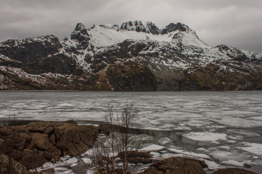 Icy Lake before the Mountain - Lofoten, Norway