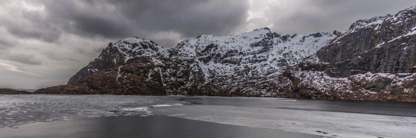 Mountain Lake Panorama - Lofoten, Norway
