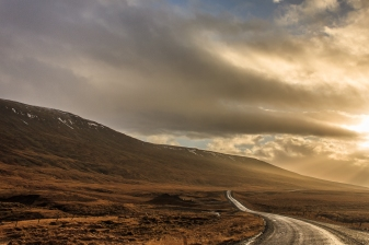 Road to evening clouds - Iceland