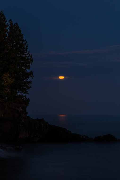 Blood Moon Obscured - Lake Superior, MN