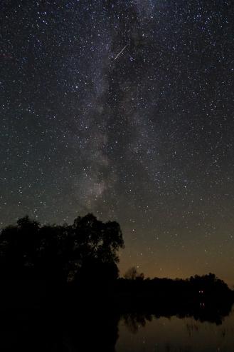 Shooting Star Passing the Milky Way - Dora Lake, MN