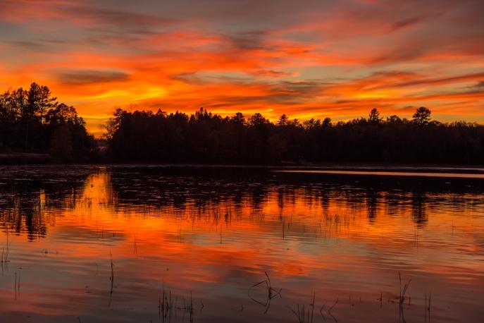 Mirrored Shore at Sunset - Dora Lake, MN