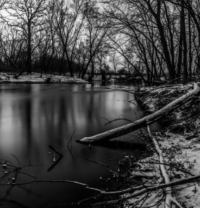 Snowy Shore - Straight River, Owatonna, Minnesota