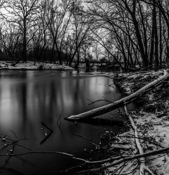 Snowy Shore - Straight River, Owatonna, Minnesota