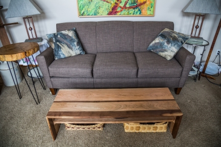 Cherry and Black Walnut Waterfall Edge Coffee Table with Shelf
