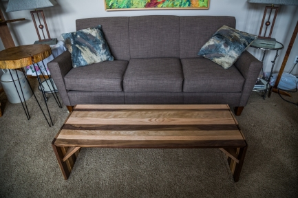 Floating Top Cherry, White Oak, and Black Walnut Coffee Table with Waterfall Edge