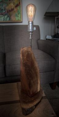 Black Walnut Table Lamp with Edison Bulb - Rustic Modern Industrial
