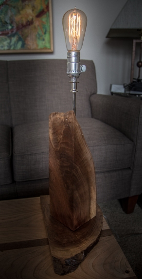 Black Walnut Table Lamp with Edison Bulb - Rustic Modern Industrial