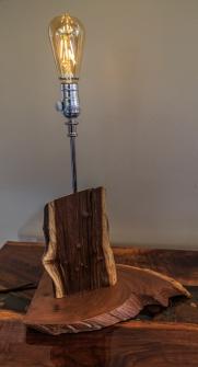Black Walnut Lamp with Edison Bulb