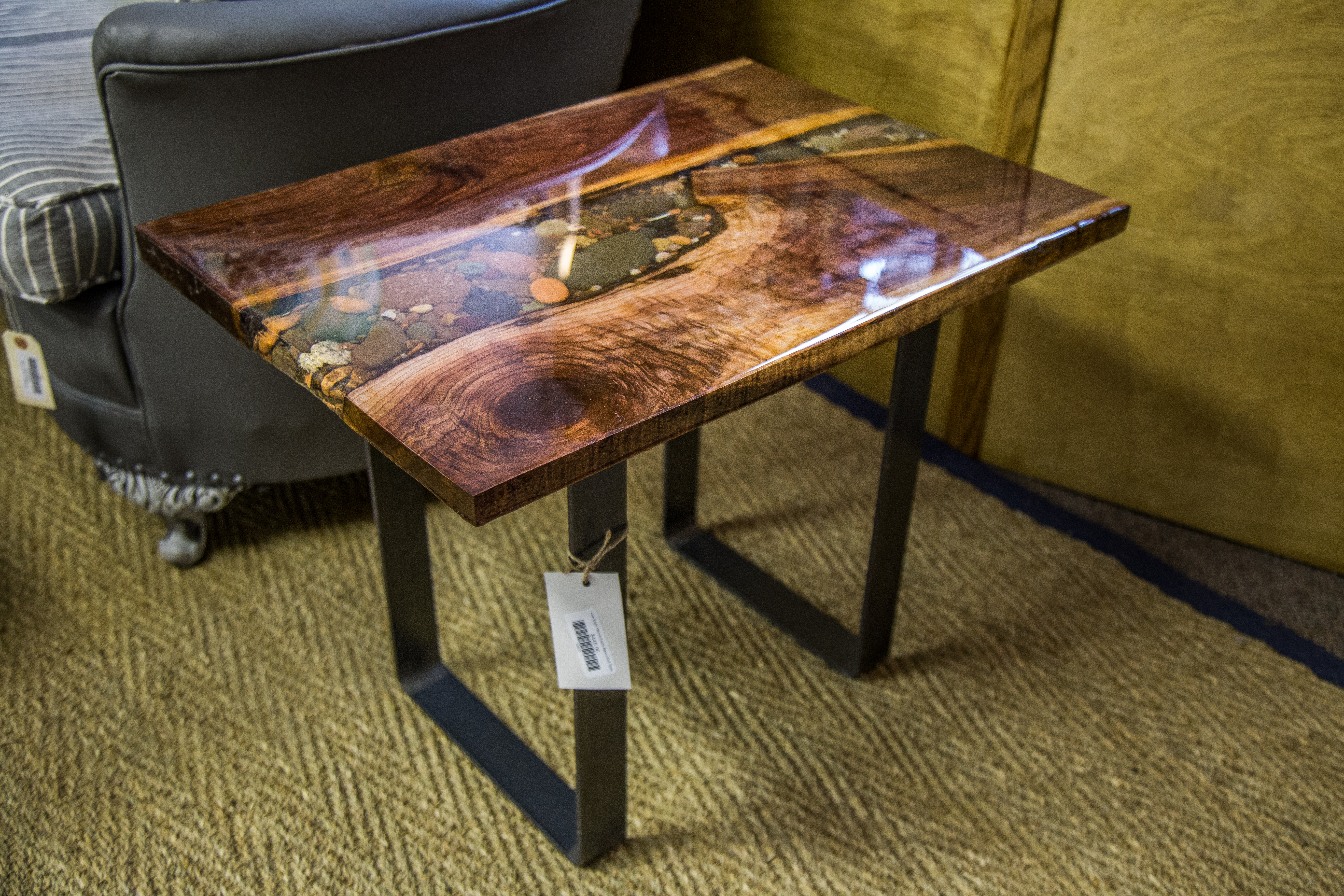 Black Walnut Table With Lake Superior Rock And Agate Inlay   Located At  That Old Blue