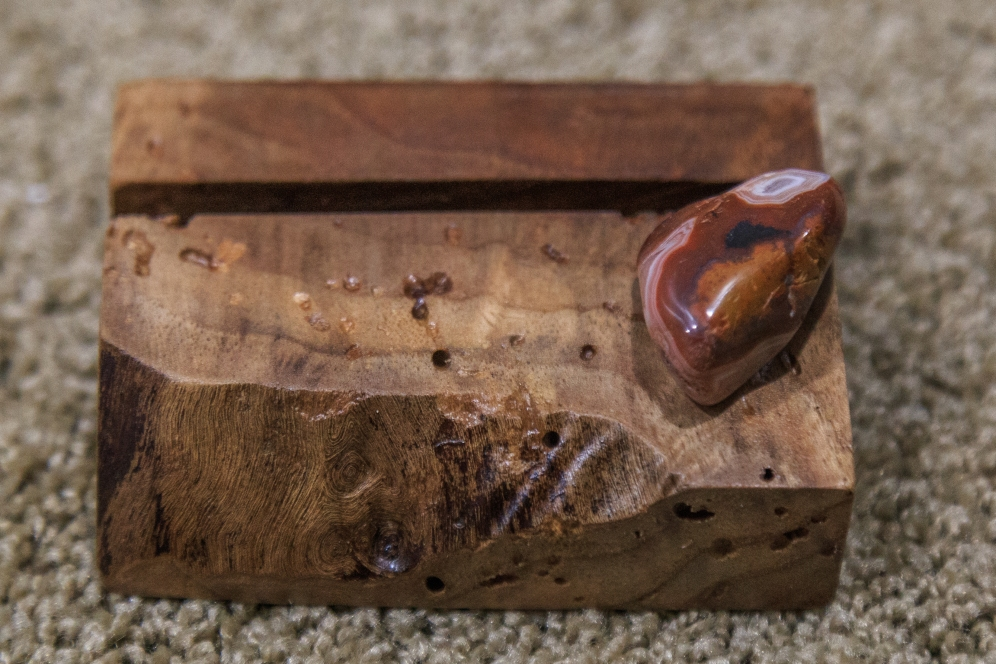 Black Walnut and Agate Business Card Holder