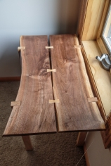 Black Walnut Live-Edge End Table with Hickory Legs and Butterfly Inlays