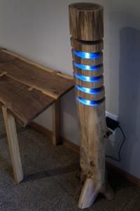 Black Walnut Log Stand Lamp