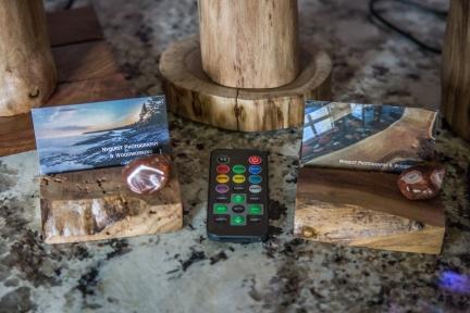 Black Walnut Floating Log Lamps - Multi-Color LEDs and Remote Controls