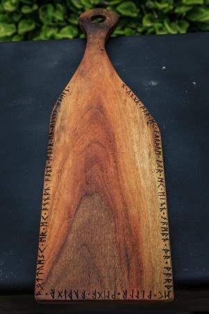 Black Walnut Serving Board with Runic Inscription from Hávamál