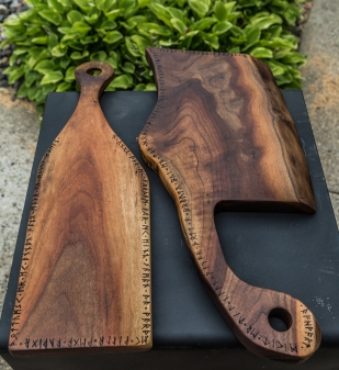 Black Walnut Serving Boards with Runic Inscriptions from Hávamál
