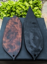 Charred Black Walnut Leaf Shaped Cutting Boards