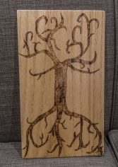 Branch and Root Woodburn on Red Oak Wall Decor