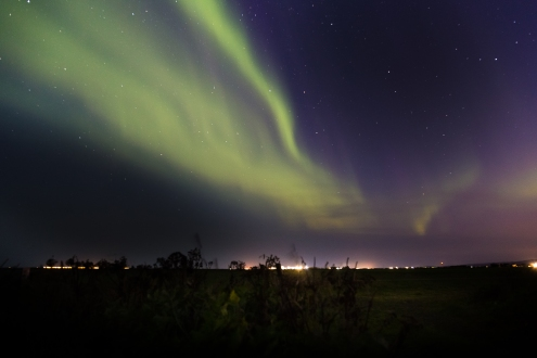 Aurora over Selfoss - Selfoss, Iceland