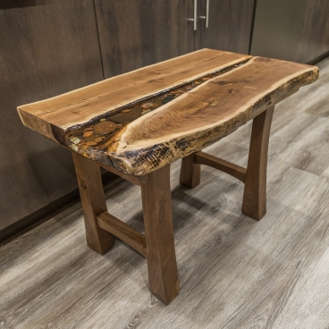 Live - Edge Lake Superior Rock and Agate Resin Table - Black Walnut