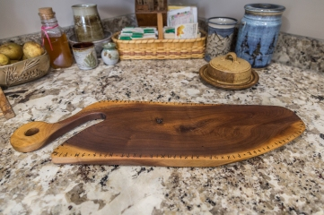 Black Walnut Cutting/Serving Board with Runic Inscription
