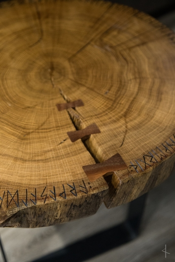 Red Oak Slab Table with Black Walnut Butterfly Inlay and Runic Old Norse Verse