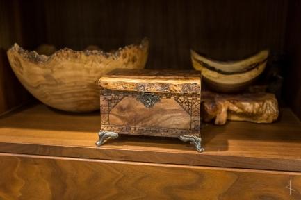 Black Walnut Jewelry Box with Runic Inscription and patterns from Sami, Kpele, Norse, and Japanese Art