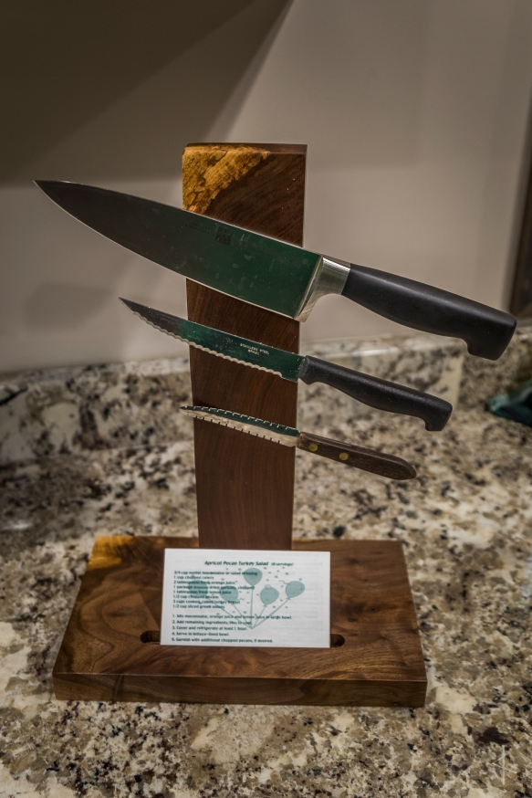 Black Walnut Magnetic Knife Block