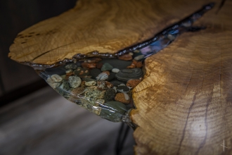 Lake Superior Rock and Agate Resin Oak Slab Table with Hairpin Legs