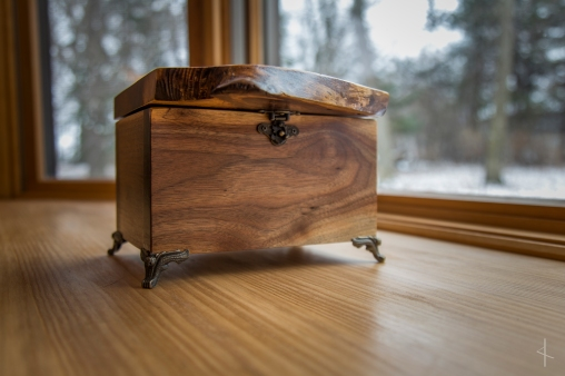 Black Walnut Keepsake Box with Runic Inscription