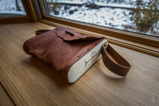 Aspen Sided Leather Bag with Tree of Gondor Wood Burn