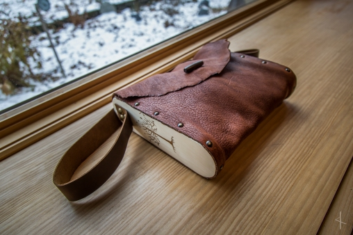 Aspen Sided Leather Bag with Tree of Gondor Wood Burn