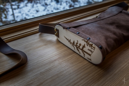 Aspen Sided Leather Bag with Pine Tree Wood Burn