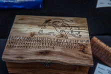 Runic Wood Chest with Mammen Style Figure